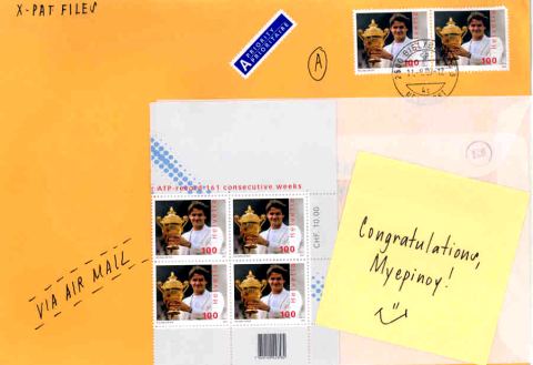 Commemorative stamps of Roger Federer from X-Pat Files
